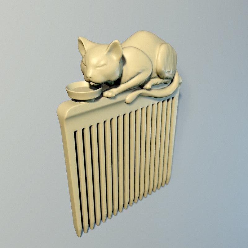 hair comb cat 3D model