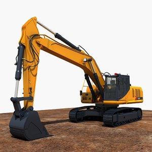 excavator construction industry 3D model
