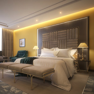 3D 6 hotel room scene model