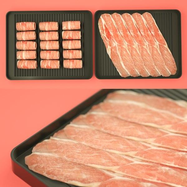 pork slices 3D model