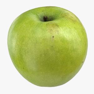 3D granny smith apple 01 model