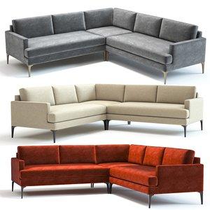 west elm andes l-shaped sofa 3D