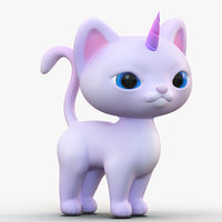 3D model cute cartoon kittycorn