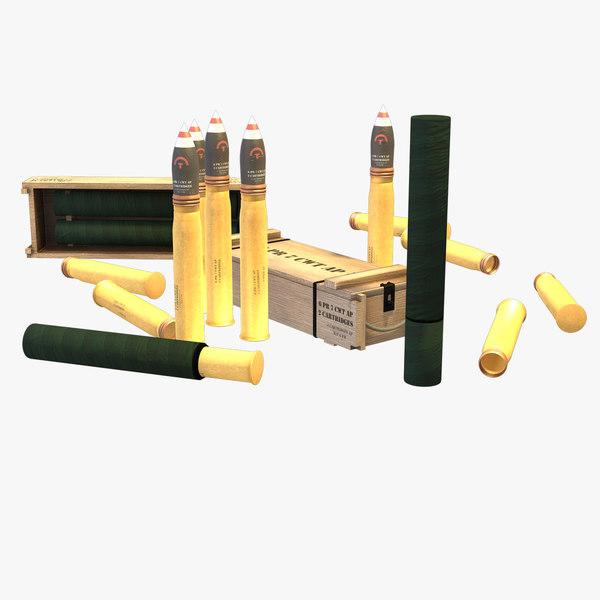 3D model british 6-pounder ap grenades