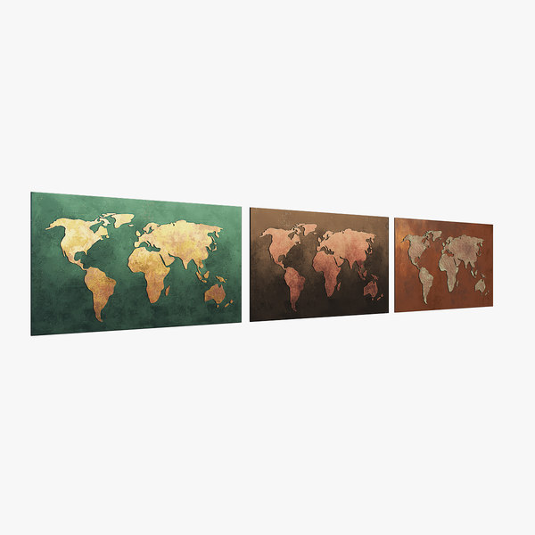 worldmap copper 3D model
