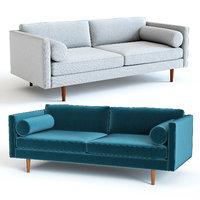 3D west elm monroe sofa model