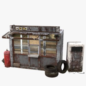 3D abandoned kiosk