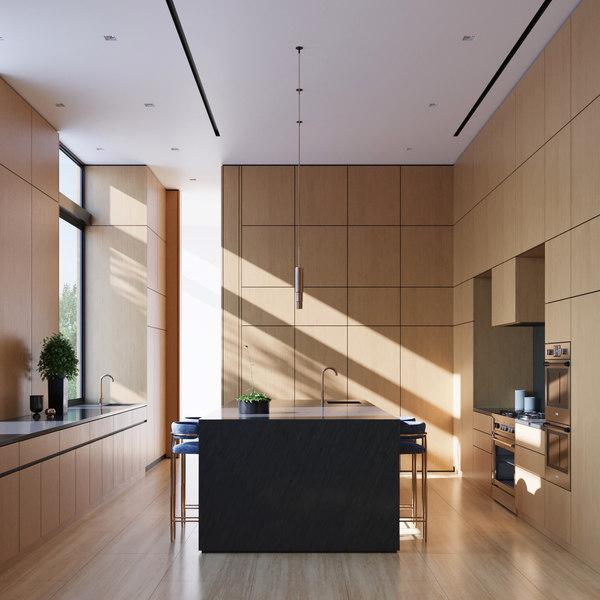 3D luxury modern kitchen interior render