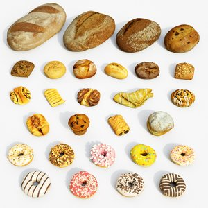 bakery set bread donuts model