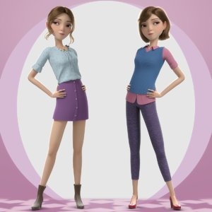 cartoon girl rigged character 3D model