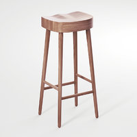 simple stool oak 3D model
