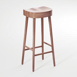 simple stool oak 3D model