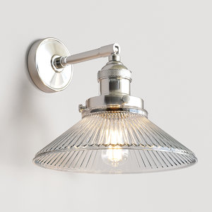 glass antiqued silver wall light 3D