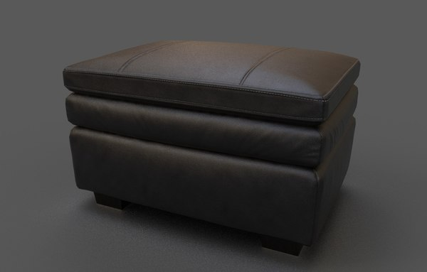 3D model luxury sofa leather dark