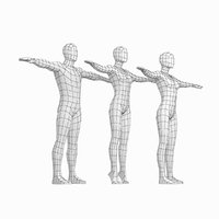 Female and Male Base Mesh in T-Pose