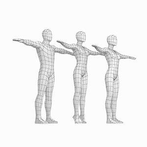 female male base mesh 3D model