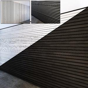 3D wooden slats white black model