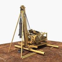 3D percussive drilling rig model