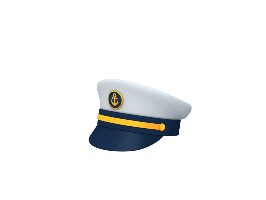 3D navy captain hat model