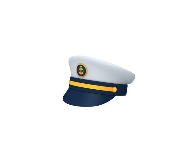 3D navy captain hat model