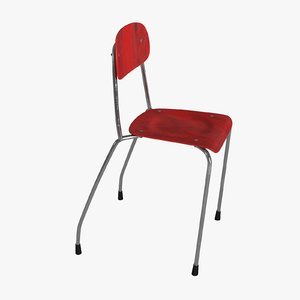 3D red chair model