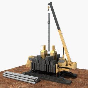 3D static-pressure pile driver model