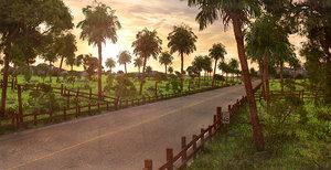 road palm sunset 3D model