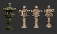3D japanese pagoda lantern sculpture
