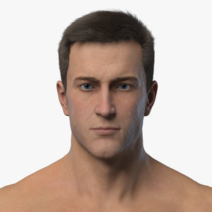 male character realistic hair 3D model