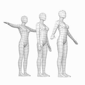 base mesh human female 3D model