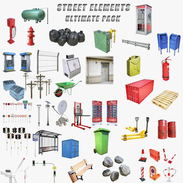 3D model lightwave street elements ultimate