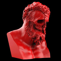 3D model hercules ripped face bust
