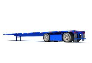 3D flatbed trailer model