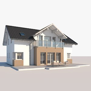 3D contemporary house model