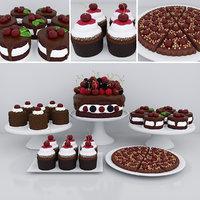 cherry dessert cake cupcakes 3D