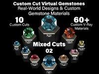 Mixed Cuts 02 - Custom Cut Gemstones and Custom V-Ray Materials