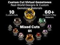 Mixed Cuts 01 - Custom Cut Gemstones and Custom V-Ray Materials