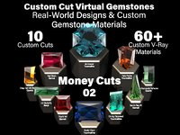 Money Cuts 02 - Custom Cut Gemstones + Custom V-Ray Materials