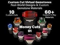 Money Cuts 01 - Custom Cut Gemstones + Custom V-Ray Materials
