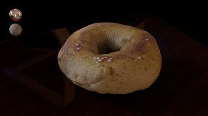 3D model plain bagel
