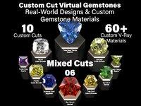 Mixed Cuts 06 - Custom Cut Gemstones + Custom V-Ray Materials