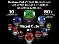Mixed Cuts 05 - Custom Cut Gemstones + Custom V-Ray Materials
