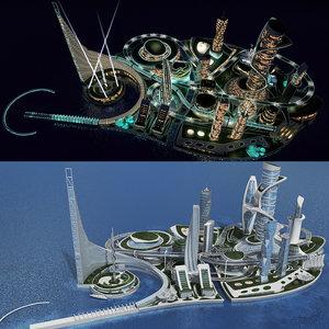 3D realistic cityscape night day model