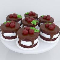 cherry chocolate mini cakes 3D model