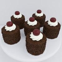 3D cherry chocolate mini cakes