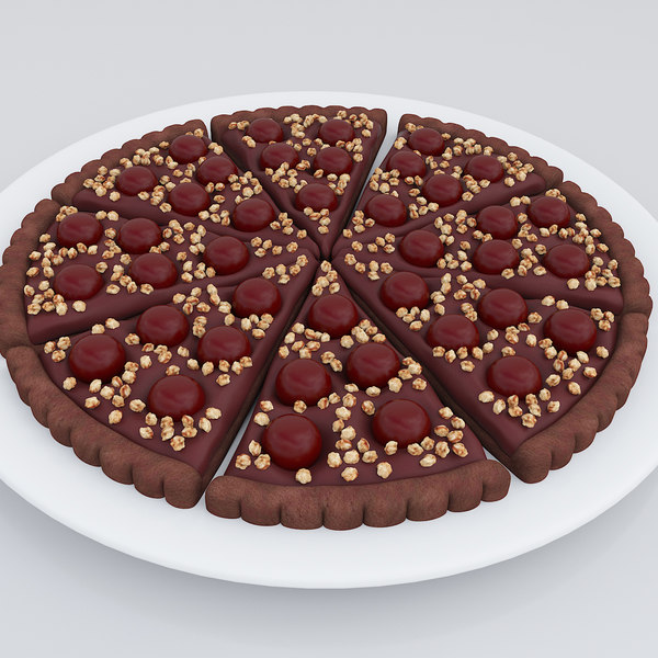cherry chocolate tart 3D model