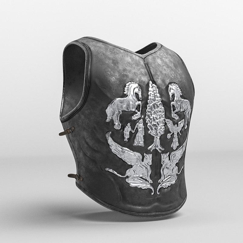 3D roman armor decorated cuirass model