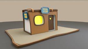 3D model cartoon book store house