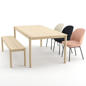 3D oslo chair linear wood table