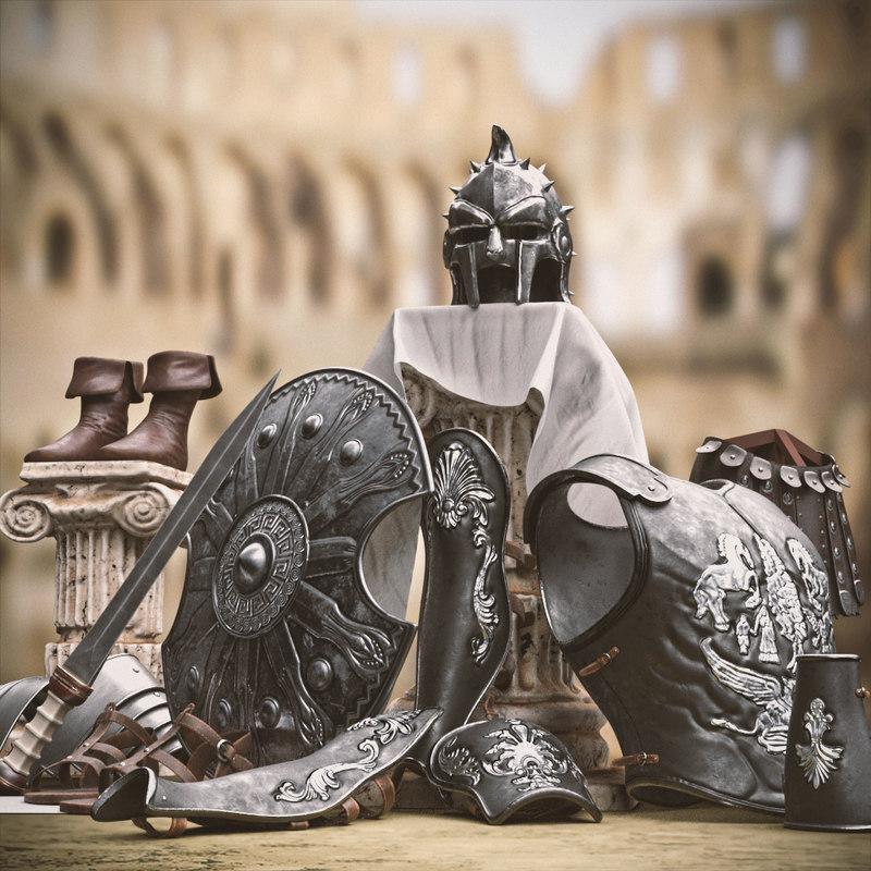 3D model roman armor gladiators